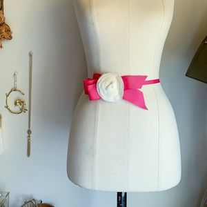 Vintage J.crew Silk Pink Flower Ribbon Bow Belt